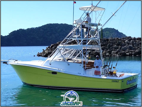The Sailfish sportfishing boat leaving Los Suenos Marina in Costa Rica
