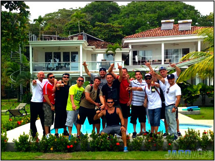Bachelor party group in Jaco Beach