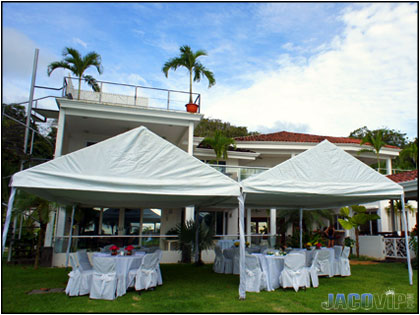 Setting up for a beachfront wedding