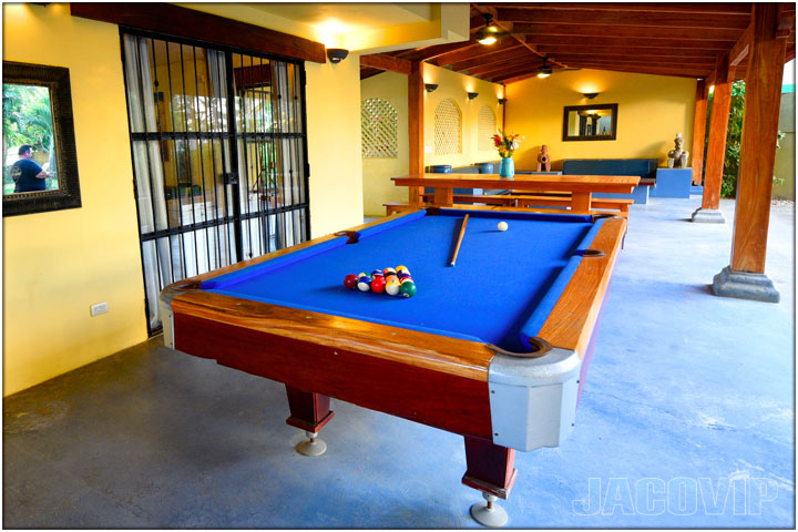 Full size pool table with blue cloth