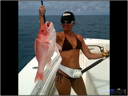 Cute girl with Red Snapper Fish