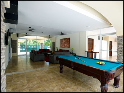 Entrance with pool table