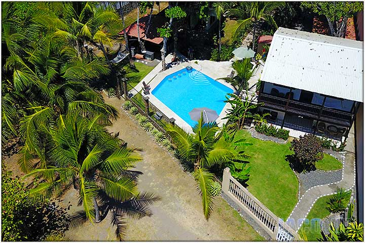 aerial view of casa 1 and pool