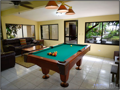 pool table at serenity point in jaco costa rica