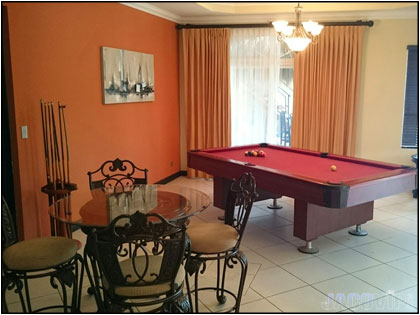 Pool table in main living area