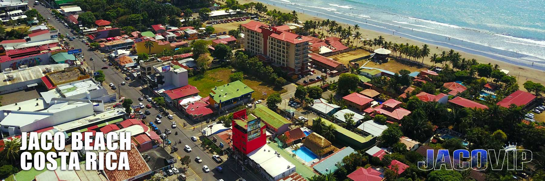 Drobe photo aerial view of Jaco beach and town center